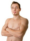 Young sportsman with a bare torso Stock Photography