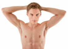 Young sportsman with a bare torso Royalty Free Stock Image