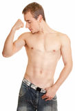 Young sportsman with a bare torso Stock Images