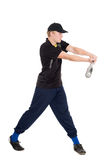 Young sportsman with a bat for baseball Royalty Free Stock Photo