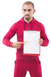 Young sportsman with binder Royalty Free Stock Photo
