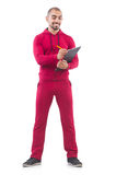 Young sportsman with binder Royalty Free Stock Photography
