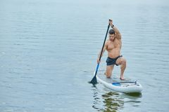 Young sportsman keeping long oar in vertical position, swimming on sup board in city lake. Royalty Free Stock Photography