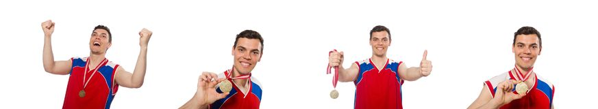 The young sportsman with medal on neck. Young sportsman with medal on neck royalty free stock images