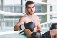 Young sportsman near boxing ring Royalty Free Stock Photo