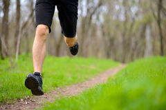 Young Sportsman Running on the Spring Forest Trail in Morning. Legs Close up View Royalty Free Stock Photos