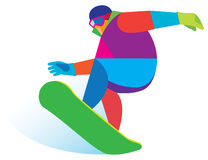 Young sportsman snowboarding in the mountains Stock Photography
