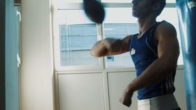 Young sportsmen boxing speed punching bag stock video