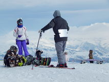 Young sportsmen in mountains. Royalty Free Stock Images