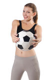Young sportswoman with ball Stock Photography