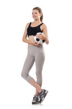 Young sportswoman with ball Stock Image