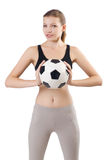 Young sportswoman with ball Stock Images