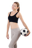 Young sportswoman with ball Royalty Free Stock Photography