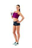 Young sportswoman holds water bottle in hand Stock Image