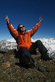 Young Sportswomen Glad Because Of Mountaineering Stock Photography