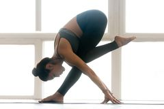 Young sporty attractive woman practicing yoga, doing balance exe royalty free stock photo