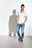 Young sporty caucasian man in casual clothing Royalty Free Stock Photo