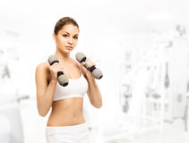 Young, sporty, fit and beautiful girl with dumbbells Royalty Free Stock Photo