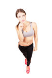 Young sporty fit confident woman looking away Stock Photo