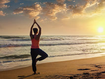 Young sporty fit woman doing yoga tree asana on beach Stock Photos