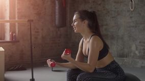 Young girl in black sportswear doing exercise with red dumbbells on the background of a brick wall. Young sporty girl doing exercise with dumbbells on the stock video