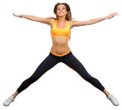 Young sporty girl doing gymnastic exercises Royalty Free Stock Images