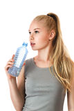 Young sporty girl with water Stock Image
