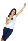 Young Sporty Girl with Weights in Victory Pose Stock Photos