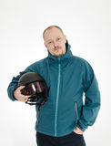 Man hold ski helmet Royalty Free Stock Image