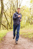 Young sporty man jogging in the morning forest Stock Photos