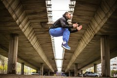 High jump. Sports man. stock photography