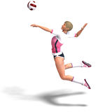 Young, sporty and sexy female plays volleyball. Stock Photography