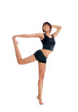 Young sporty woman doing exercise isolated on white Royalty Free Stock Images