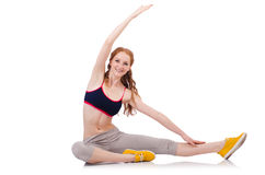 Young sporty woman doing exercises Stock Images