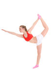 Young sporty woman doing stretching exercise over white Stock Photos