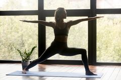 Young sporty woman doing Warrior Two exercise. Young sporty woman practicing yoga, doing Warrior Two exercise, Virabhadrasana 2 pose, working out, wearing royalty free stock photo