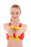 Young sporty woman with dumbbells Royalty Free Stock Image