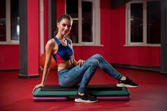 Young woman in fitness club royalty free stock photos