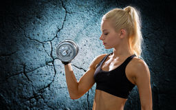 Young sporty woman with heavy steel dumbbell Stock Photography