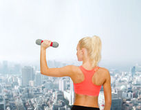 Young sporty woman with light dumbbell Royalty Free Stock Image