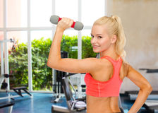 Young sporty woman with light dumbbell Royalty Free Stock Photos