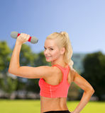 Young sporty woman with light dumbbell Royalty Free Stock Photography