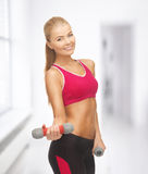 Young sporty woman with light dumbbells Stock Image