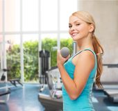 Young sporty woman with light dumbbells Royalty Free Stock Images