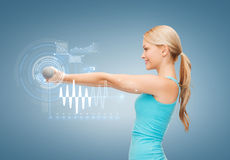 Young sporty woman with light dumbbells Stock Photography