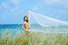 Young, sporty woman posing with blowing silk Royalty Free Stock Image