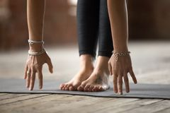 Young woman doing Uttanasana exercise. Young sporty woman practicing yoga, doing Head to knees pose, Uttanasana exercise, working out, wearing wrist bracelets stock image