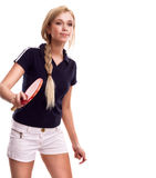 Young sporty woman with a racket ping-pong Royalty Free Stock Photography