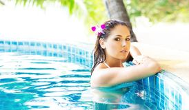 Young and sporty woman in swimsuit. Girl relaxing in a pool at summer. Stock Photos