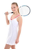 Young sporty woman with tennis racket Stock Image